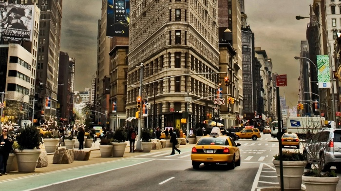 USA, street, clouds, road, New York City, car, skyscraper, building, billboards, city, traffic lights, Flatiron Building, people, taxi, Manhattan, architecture, cityscape