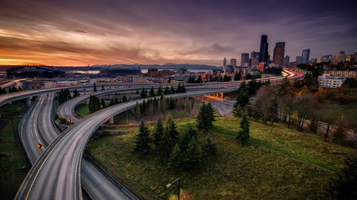 Seattle, cityscape, evening, city, sunset, road, architecture, trees, building, stadium, cranes machine, skyscraper, USA, highway, grass, long exposure, street, clouds, light trails