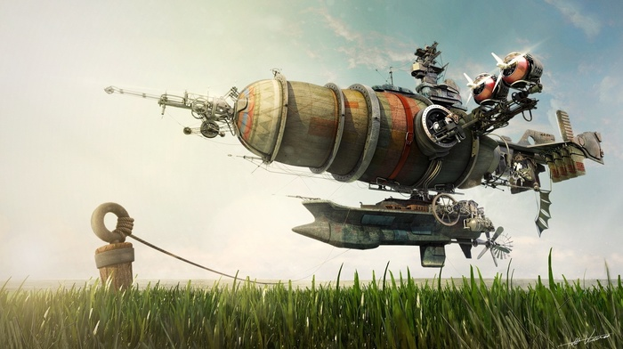 artwork, machine, propeller, ropes, grass, turbines, steampunk, technology, Zeppelin, wheels, digital art, sunlight, gears, field, steampunk airship, floating, landscape, nature