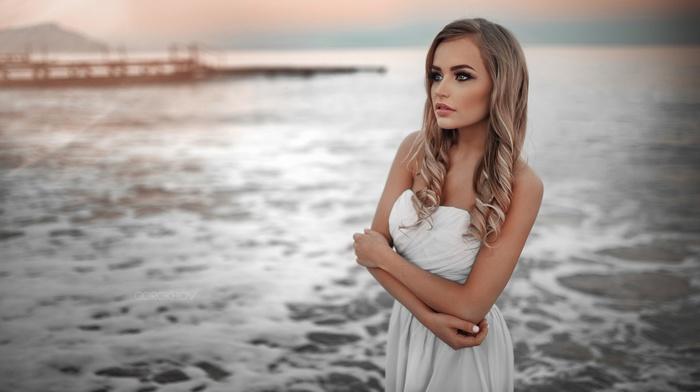 looking away, girl, blonde, Mary Jane, sea, white dress