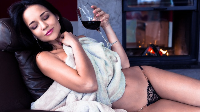 closed eyes, Angelina Petrova, strategic covering, arms on chest, girl, lingerie, wine