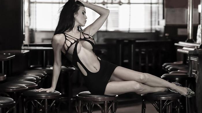 pierced navel, girl, black dress, closed eyes, sitting