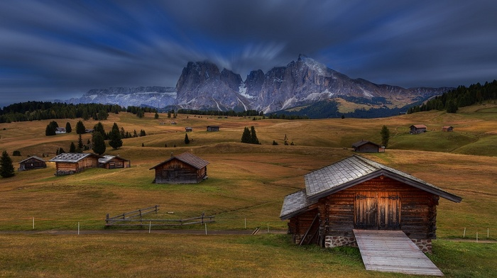nature, landscape, mountain, grass, Italy, Dolomites mountains, fence, trees, cabin, long exposure, clouds