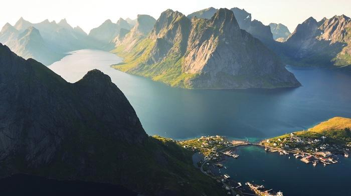 landscape, Lofoten Islands, sunlight, mountain, Norway, morning, nature, sea, Reine, town
