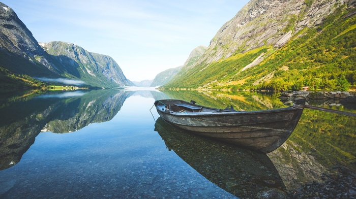 Norway, nature, reflection, mist, calm, boat, mountain, landscape, grass, summer, fjord, shrubs