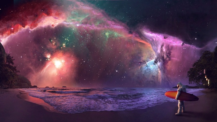 photo manipulation, surfing, science fiction, astronaut, nebula