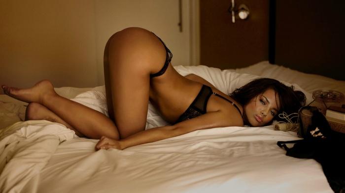 lingerie, brunette, Adriana Lima, bent over