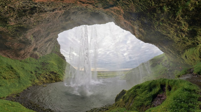 grass, cave, waterfall, lake, sky