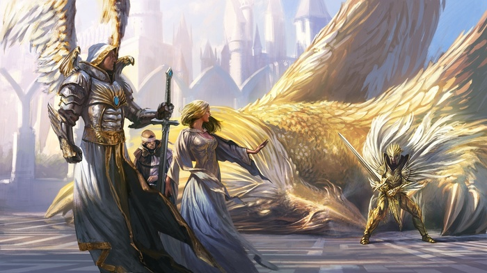 wings, fantasy art, dragon, armor, knight, Might And Magic, sword, angel, Griffins, Heroes of Might and Magic, knights, girl