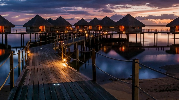reflection, sea, sunset, lights, resort, tropical, beach, walkway, sky, clouds, landscape, nature, bungalow, French Polynesia, architecture