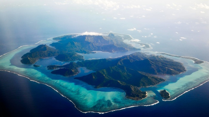 tropical, nature, atolls, aerial view, sea, landscape, beach, clouds, island, French Polynesia, mountain