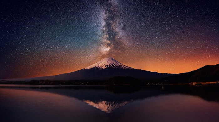 landscape, starry night, long exposure, Milky Way, poop, Mount Fuji, volcano, nature, mountain, lake, reflection, snowy peak