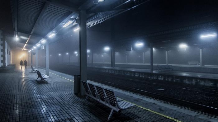 lights, urban, Spain, train station, night, mist, bench, people, blue, railway