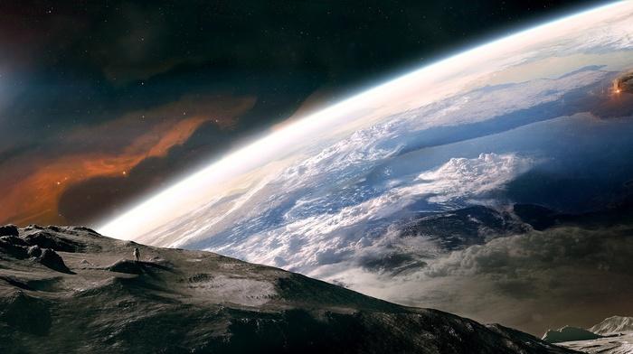 Earth, moon, space