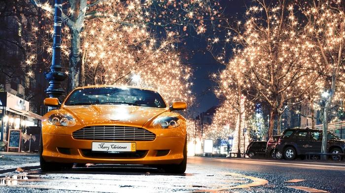 Aston Martin, street light, rain, street, reflection, water drops