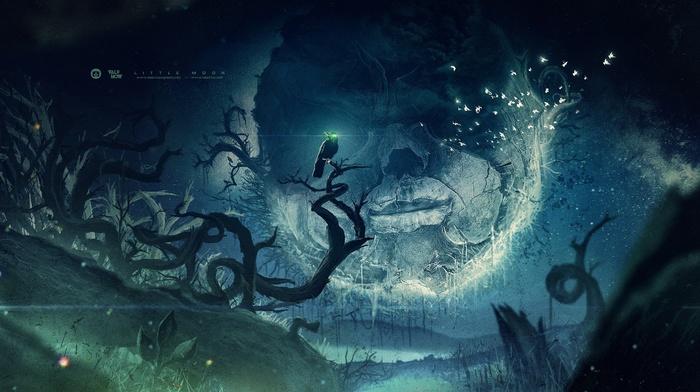 Mist Desktopography Raven Valpnow Fantasy Art Moon