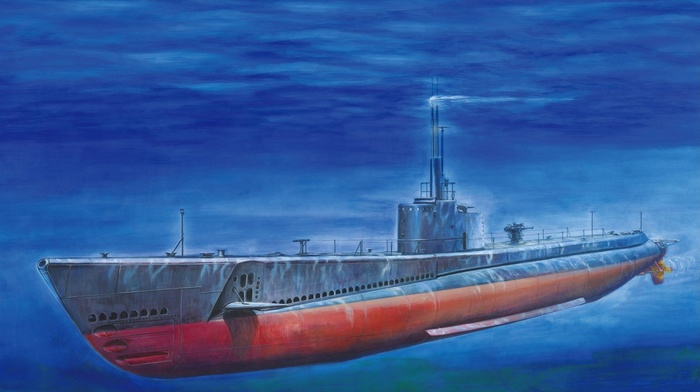 USA, underwater, blue, drawing, sea, submarine, vehicle