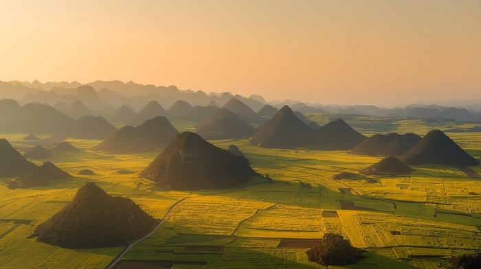 aerial view, nature, sunset, mist, hill, landscape, China, road, green, field