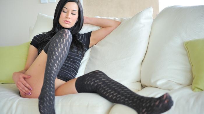 pornstar, Valentina, stockings, dress, black hair, legs