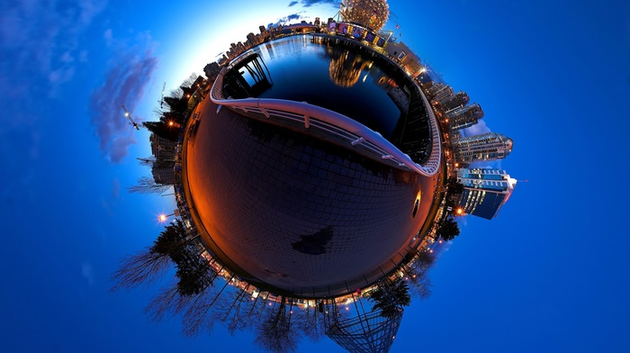 water, building, reflection, tiles, girl, lights, street light, Vancouver, skyscraper, city, trees, photo manipulation, Canada, clouds, sphere, British Columbia, cranes machine, evening, fence, panoramic sphere, town square, architecture