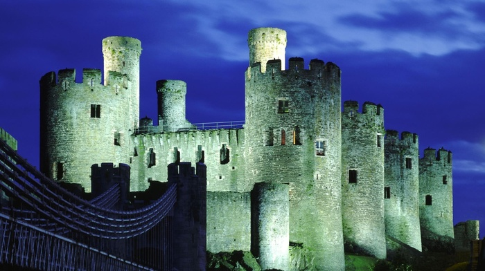 architecture, UK, ancient, castle, long exposure, bridge, night, Wales, clouds, tower