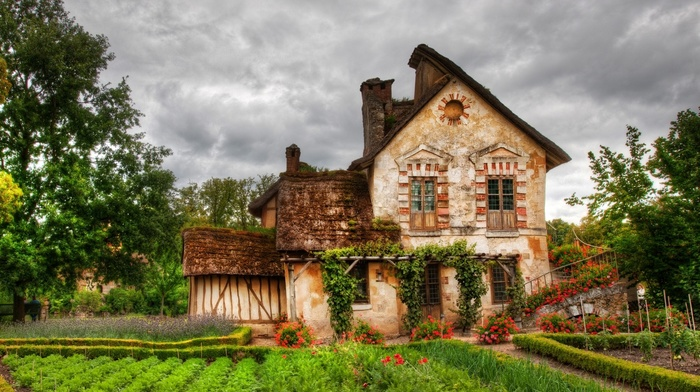 stairs, nature, window, door, architecture, house, garden, France, trees, clouds, old building, chimneys, flowers, plants, HDR