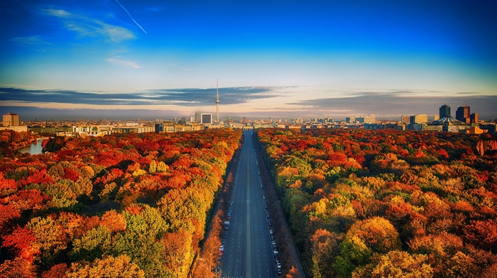urban, highway, cityscape, building, nature, Germany, Berlin, skyline, colorful, architecture, landscape, trees, fall
