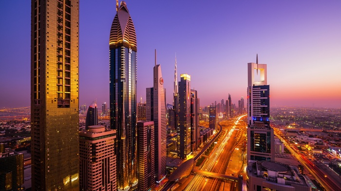 Dubai, building, city, sunset, city lights