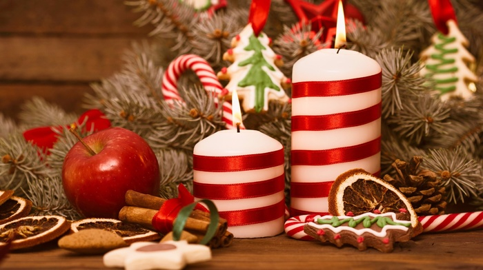 candles, Christmas, treats, apples