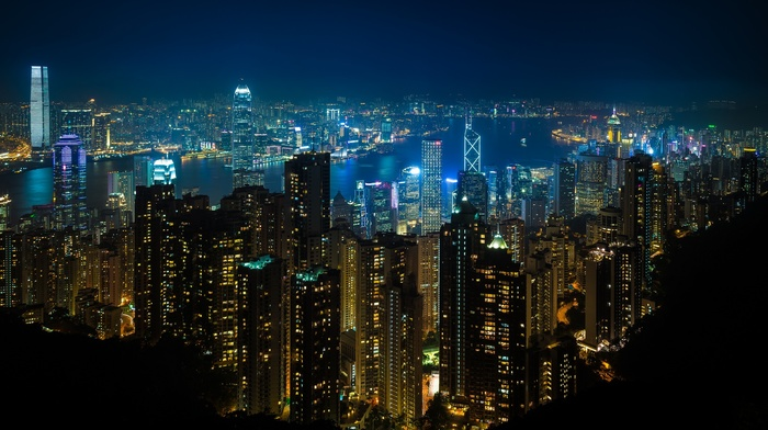 city lights, Hong Kong, night, lights, street light
