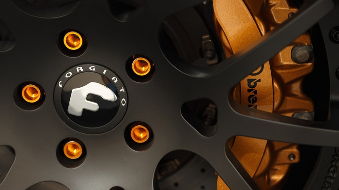 Forgiato, wheels, rims, orange, closeup, Brembo