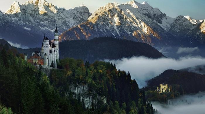 landscape, sunset, mist, mountain, forest, nature, castle, Germany, snowy peak
