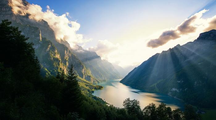 sunset, forest, mountain, sun rays, Alps, nature, Switzerland, landscape, lake, clouds
