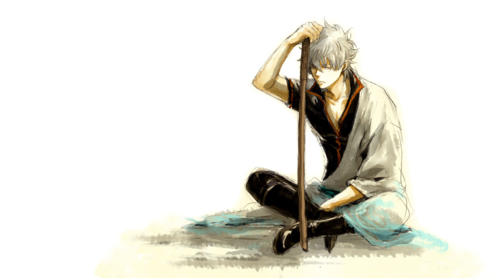 white hair, Gintama, anime boys, anime, Sakata Gintoki