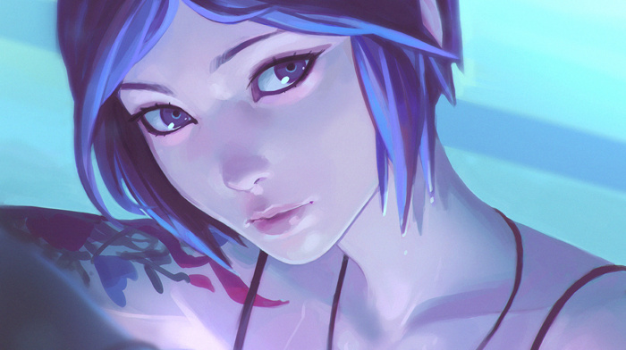 Chloe Price, fan art, tattoo, blue hair, Life Is Strange, Ilya Kuvshinov