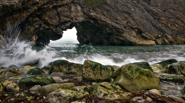 stones, rock, water drops, nature, sea, water, stone, waves