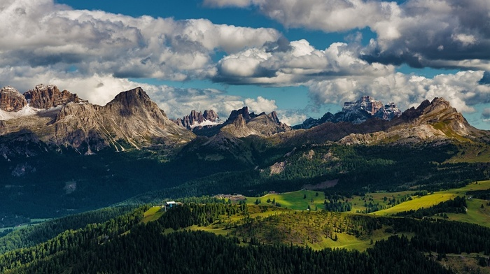 Italy, landscape, forest, mountain, clouds, Alps, nature, Dolomites mountains
