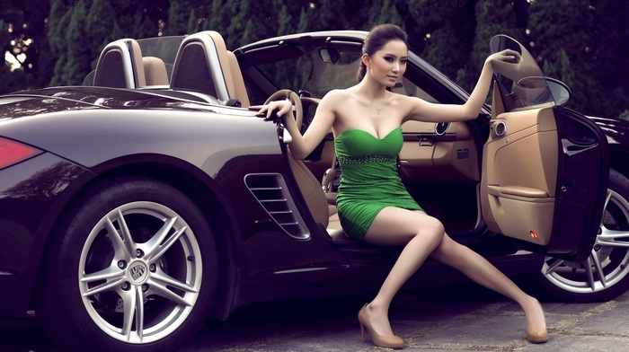dress, car, black, green, luxury, wheels, Asian, girl, heels