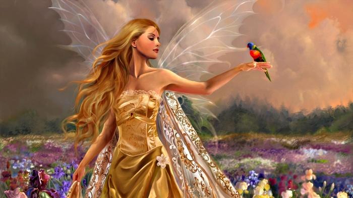 hair, dress, fantasy art, gold, girl, blonde, nature