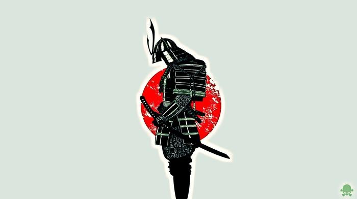 minimalism, flag, Japan, samurai