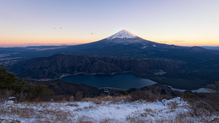 Japan, snowy peak, sunset, lake, volcano, shrubs, landscape, snow, nature, mountain, Mount Fuji