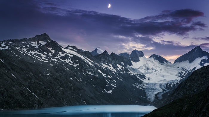 moon, glaciers, sunset, landscape, nature, clouds, mountain, evening, lake, snowy peak