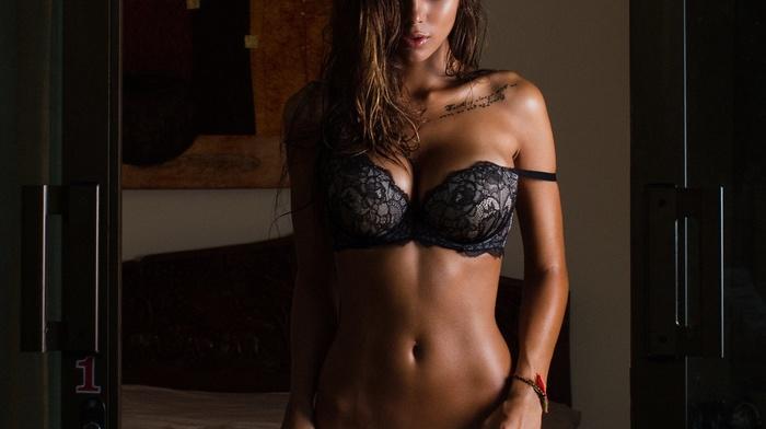 sensual gaze, tattoo, flat belly, lingerie, ab, model, brunette, wet hair, russian girl, ass, legs, bare shoulders, stripping, Viki Odintcova, armpits, big boobs, brown eyes, fake boobs, girl, chest tattoos, Aleksandr Mavrin, boobs