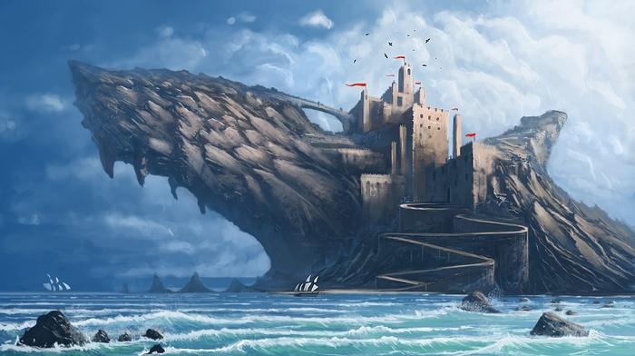 nature, digital art, rock, DeviantArt, waves, clouds, tower, landscape, birds, sea, shark, painting, fangs, castle, flag, water, fantasy art, fin