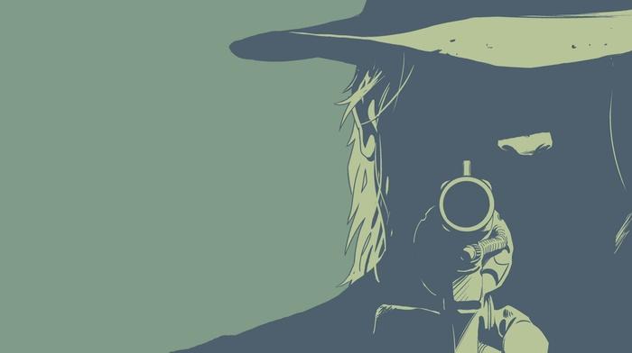 revolver, minimalism, cowboys, green