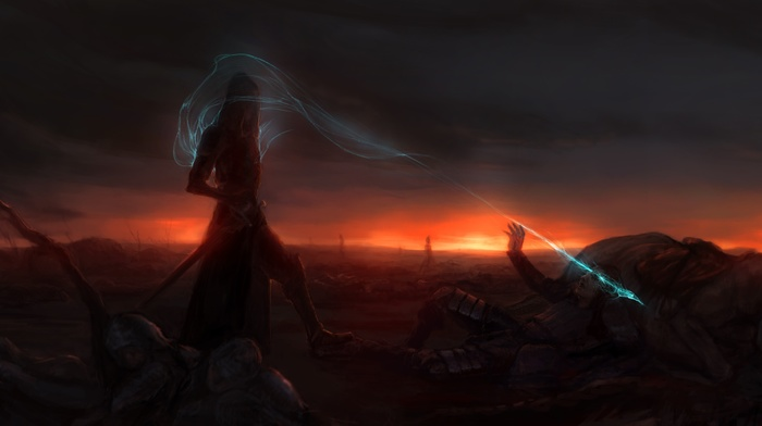 magic, battlefields, night, fantasy art, sunset
