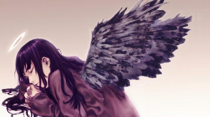 anime girls, anime, Haibane Renmei, black, Halo, Reki Haibane Renmei, wings