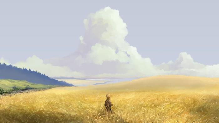 landscape, yellow, field, gold