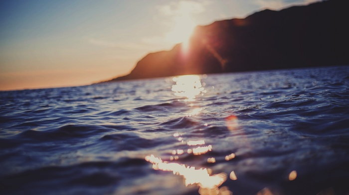 sunset, blurred, waves, sea, water, nature