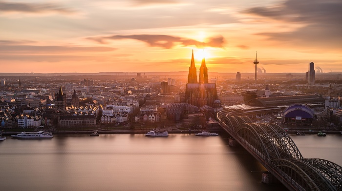 Rhein, Germany, sunset, kln, Cologne Cathedral, Cologne